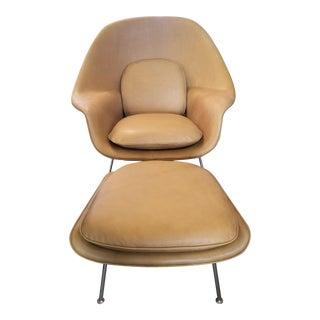Saarinen Tan Leather Womb Chair & Ottoman For Sale