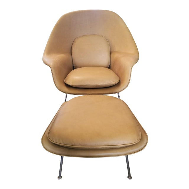 Saarinen Tan Leather Womb Chair & Ottoman For Sale
