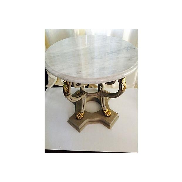 Traditional Round Gray Marble Top Foyer Table For Sale - Image 3 of 6