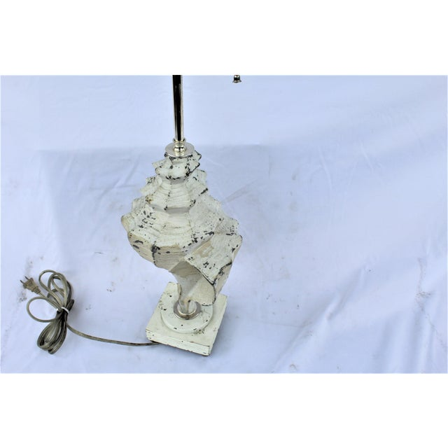 Mid-Century Modern Original White Metal Conch Shell Lamp For Sale - Image 3 of 8