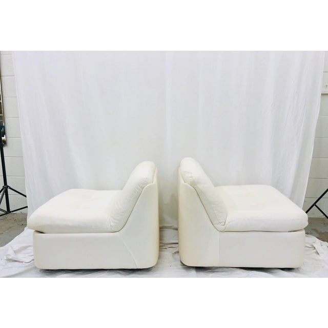 Stunning Pair Late Mid Century Modern, Contemporary Slipper Style Lounge Chairs. Double Button Back & Seat. Original...