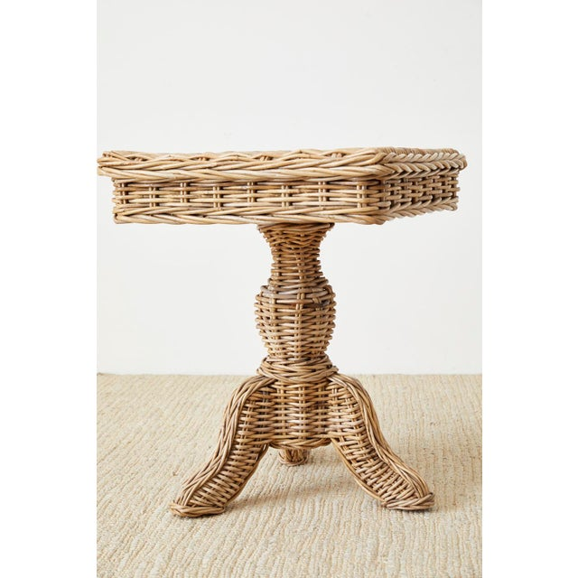Contemporary Woven Wicker and Rattan Pedestal Center Table For Sale - Image 3 of 13