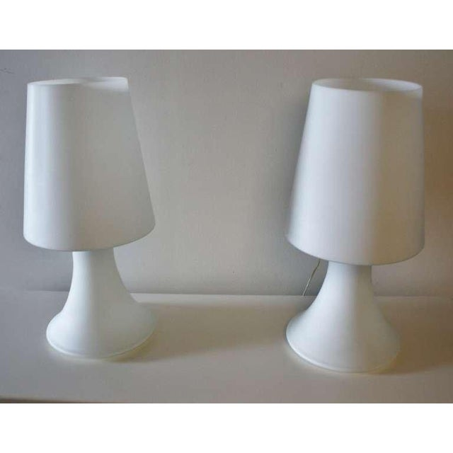 Laurel Lighting Inc. Pair of Italian White Glass Lamps and Shades by Laurel For Sale - Image 4 of 7