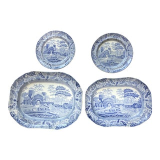19th Century Staffordshire Copeland Spode Plate and Platter Set - 4 Pieces For Sale