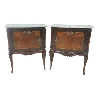 French Walnut Inlaid Marble Top Nightstands- a Pair