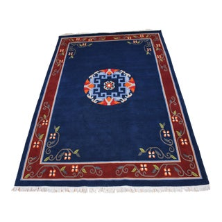 "Tibetan Handwoven Traditional Rug - 72"" x 108"" For Sale"