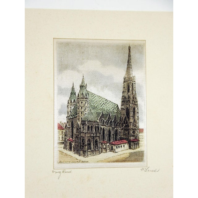 Pair of colored etchings on silk of continental architecture. Titled and signed in pencil on edge of mat. Unframed, both...