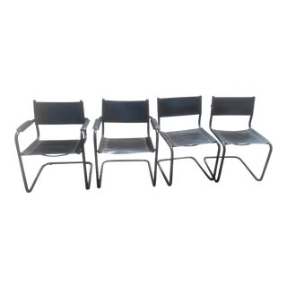 Vintage Mid-Century Modern Black Leather Sling Dining Chairs - Set of 4
