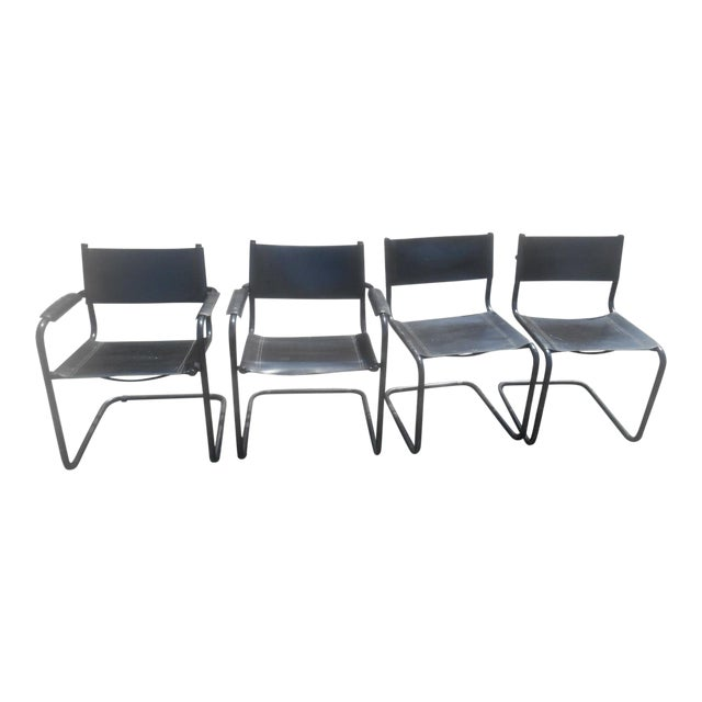 Vintage Mid-Century Modern Black Leather Sling Dining Chairs - Set of 4 For Sale