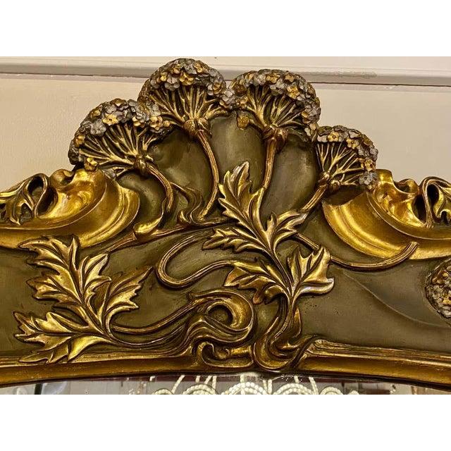 Art Nouveau Belle Époque Style Wall or Over Mantel Mirror Art Nouveau Form For Sale - Image 3 of 13