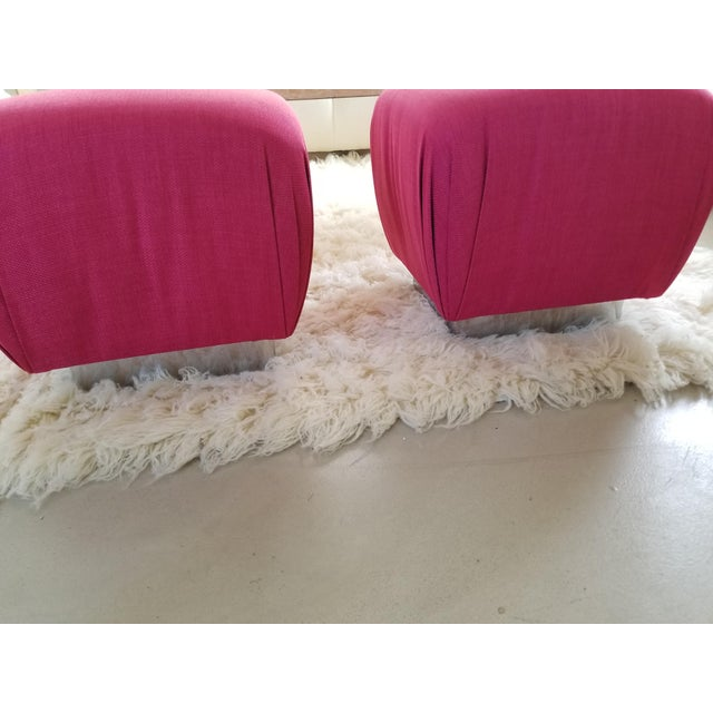 1980's Karl Springer Style Souffle Pouf Ottomans by Marge Carson - A Pair - Image 2 of 5