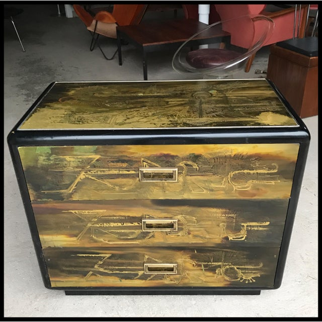 Mastercraft Acid Etched Brass & Black Lacquer 3 Drawer Dresser Bernhard Rohne For Sale - Image 12 of 12