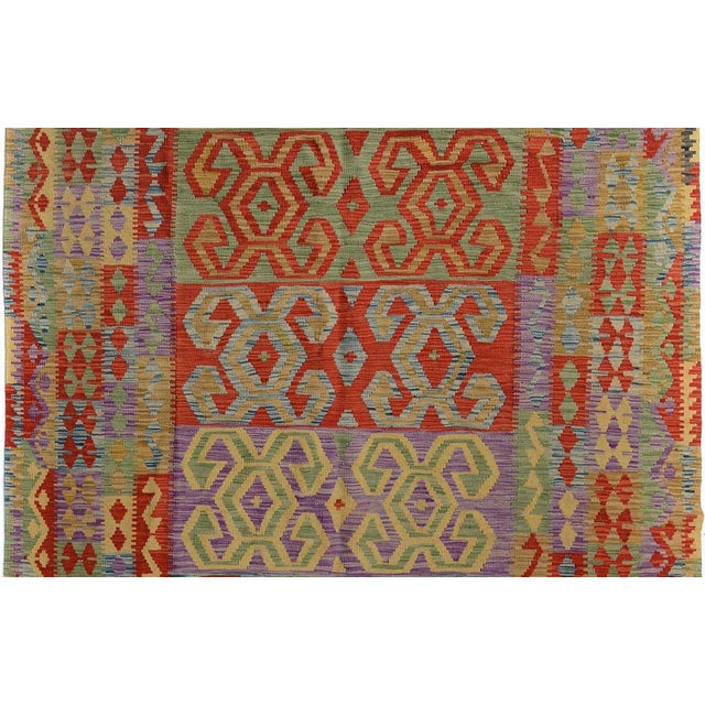 "Rustic Kilim Arya Jarrod Gold/Red Wool Rug - 6'5"" X 9'8"" A9288 For Sale - Image 3 of 7"