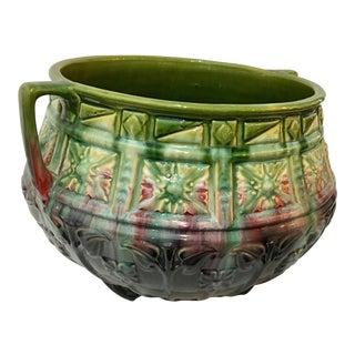 1960's Vintage Large Majolica Jardiniere Bowl For Sale
