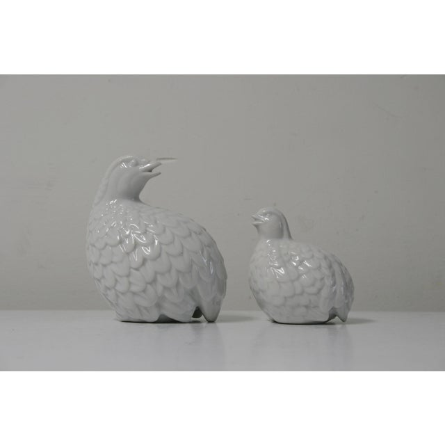 Mid 20th Century White Porcelain Partridges - a Pair For Sale - Image 5 of 8
