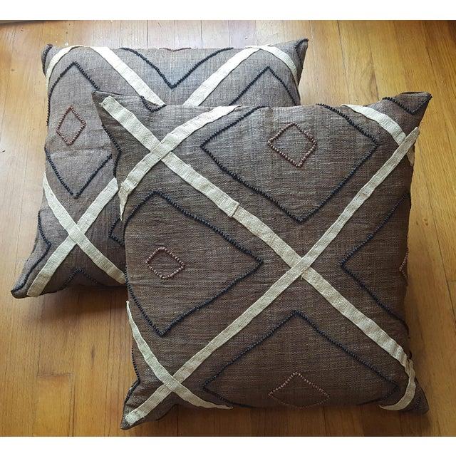 African Kuba Cloth Pillows- A Pair - Image 2 of 3
