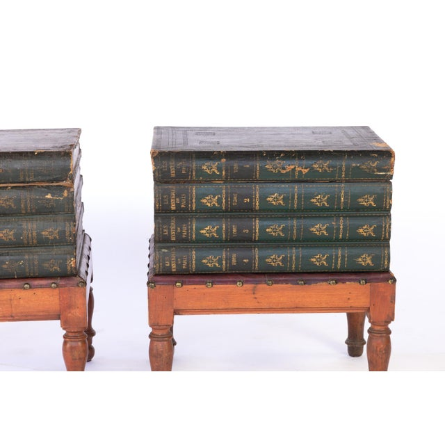 French Faux Book Box End Tables on Turned Fruitwood Legs, Circa 1880 - a Pair For Sale In San Francisco - Image 6 of 9