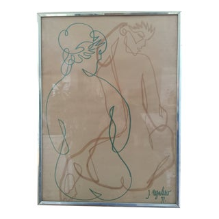 1970s Vintage Jean Negulesco Figurative Drawing For Sale