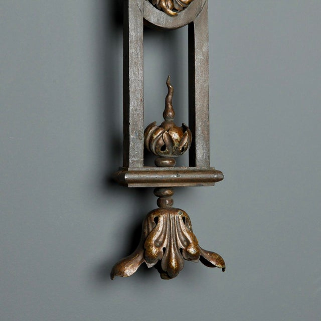 Bronze Tall Iron Sconces Made from Antique Balustrades - a Pair For Sale - Image 8 of 9