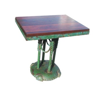 1920s Rustic Painted Iron Cafe Table For Sale