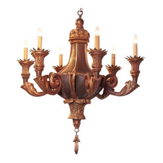 Decorative 20th Century Italian Painted Six-Light Chandelier