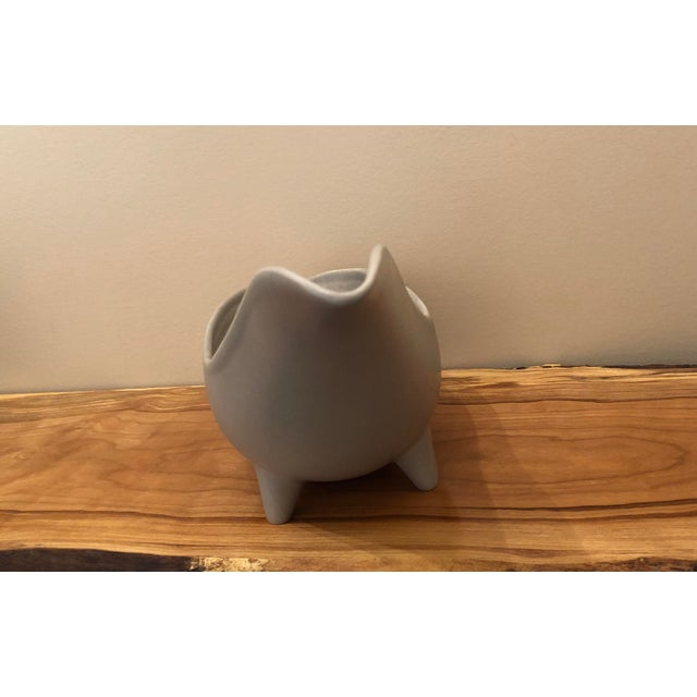 Mid 20th Century Mid-Century Modern Gray Footed Ceramic Planter For Sale - Image 5 of 9