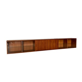 Mid Century Modern Teak Wall Hanging Cabinets in 3 Pieces For Sale