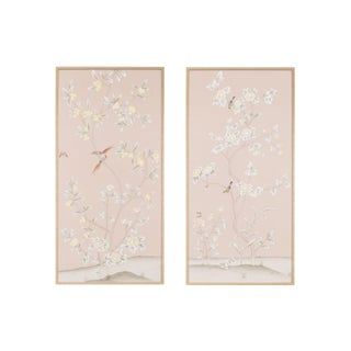 "Simon Paul Scott Jardins en Fleur ""Pavenham Court"" Chinoiserie Hand-Painted Silk Diptych - 2 Pieces For Sale"