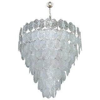 Italian Murano Oval Glass Discs Chandelier by Vistosi For Sale