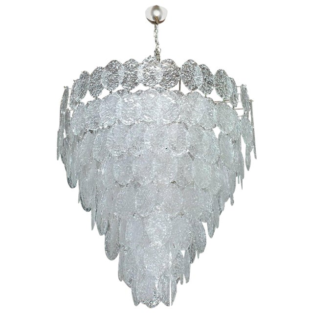 Italian Murano Oval Glass Discs Chandelier by Vistosi For Sale