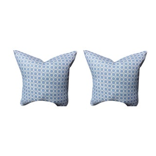 Victoria Hagan Pillows in Sky Blue Platinum Ring Pattern - a Pair For Sale