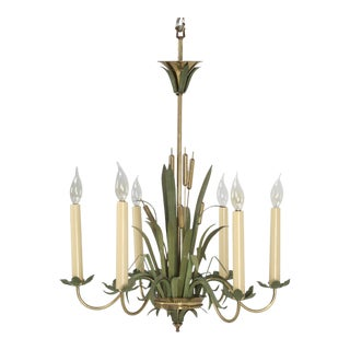 Mid-Century Modern French Painted Cattail Chandelier For Sale