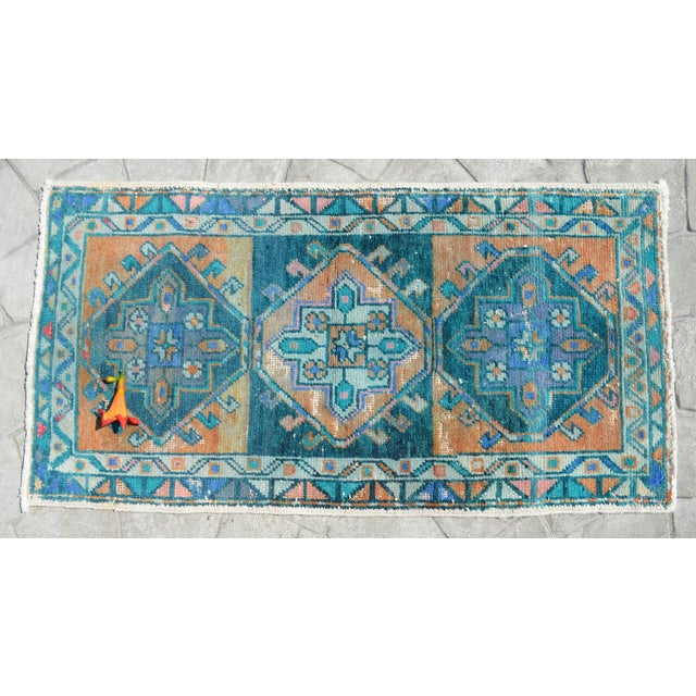 """Turkish Hand Knotted Oushak Rug. Faded Oushak Small Rug - 1' 8"""" X 3' 1"""" For Sale - Image 3 of 6"""