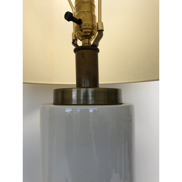 Vintage Ceramic Center and Metal Base and Top Table Lamps with Original Silk Shade - a Pair For Sale In Los Angeles - Image 6 of 9