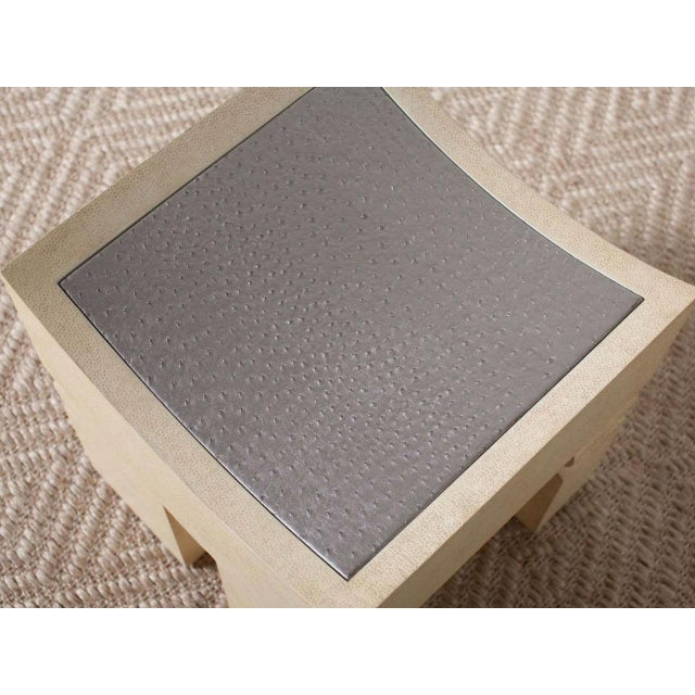 Marc African Style Faux Shagreen Bench For Sale - Image 4 of 6