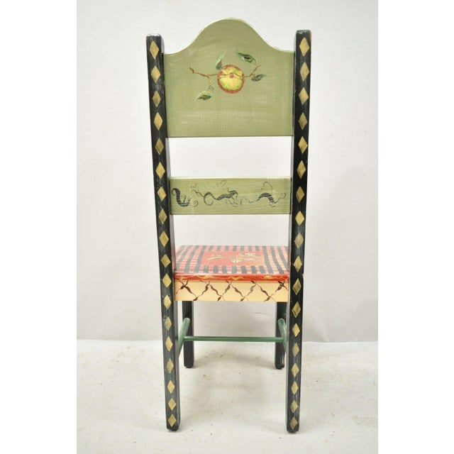 Red Late 20th Century French Country Style Handpainted Fruit Bird Butterfly Side Chair For Sale - Image 8 of 11