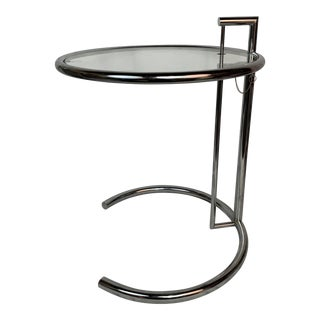 1980s Art Deco Eileen Gray Adjustable Chrome Side Table For Sale