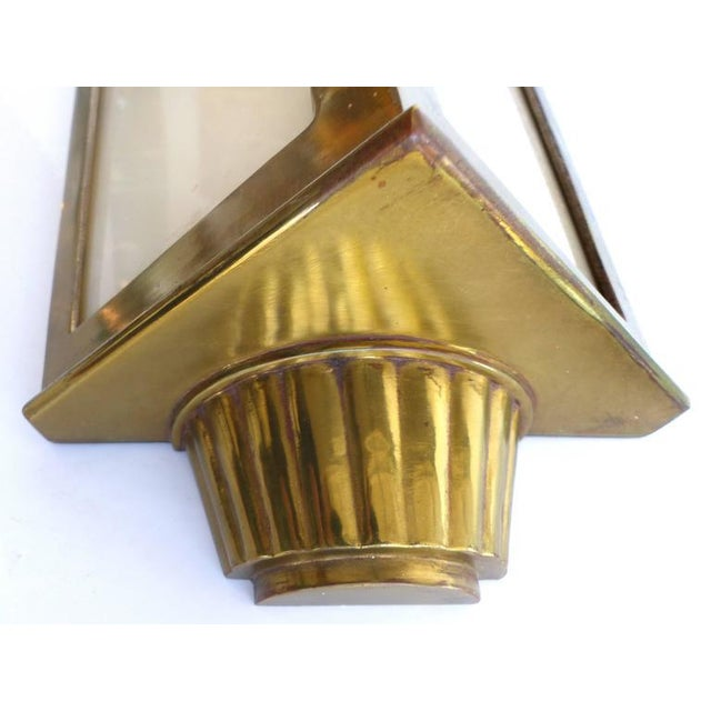 1930s 1930s American Art Deco Bronze and Glass Theater Sconces - A Pair For Sale - Image 5 of 10