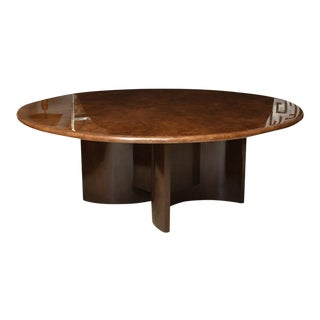 Monumental Itaian Modern Goatskin and Dark Walnut Dining Table by Aldo Tura For Sale