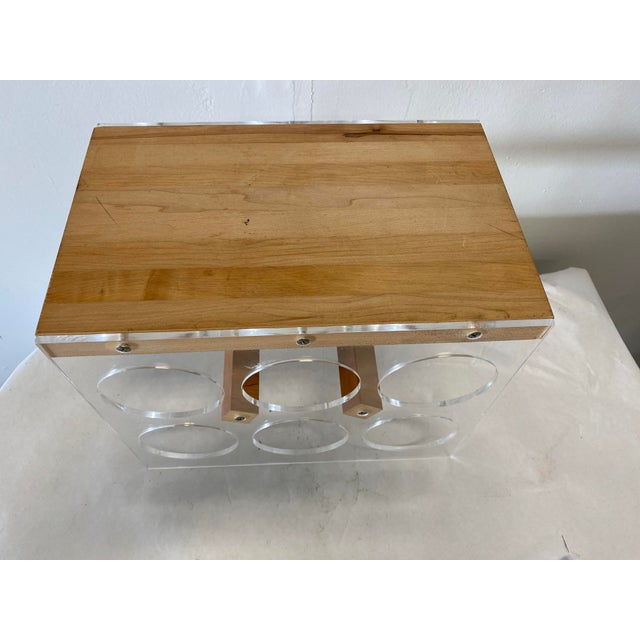Mid-Century Lucite and Butcher Block Wine Holder and Cheese Board For Sale - Image 4 of 8