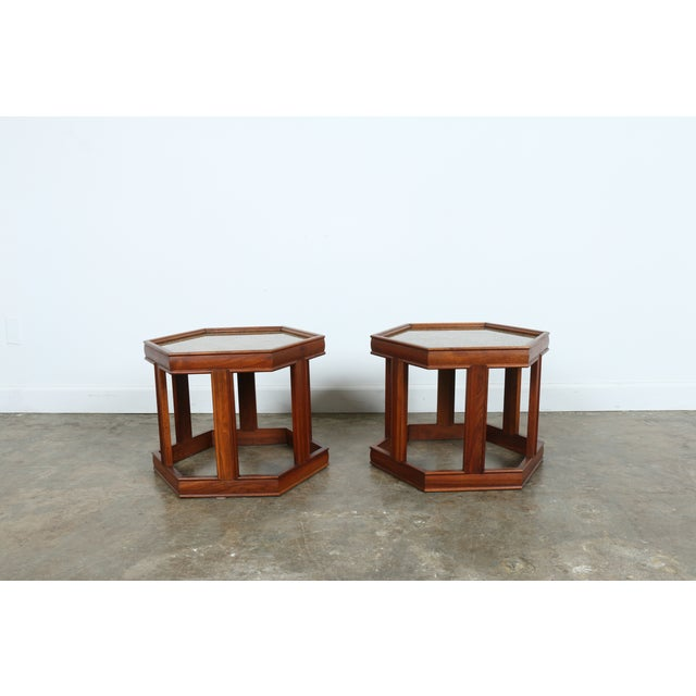 Brown Saltman Hexagonal End Tables - A Pair - Image 9 of 10