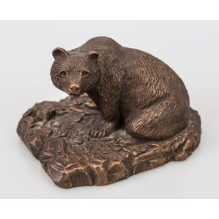 Rustic Copper Bear Sculpture Signed Preview