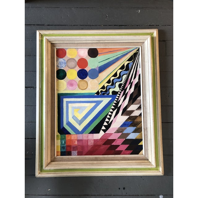 Vintage Original Abstract Geometric Modernist Painting 1970's For Sale In Philadelphia - Image 6 of 6
