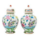 Image of Vintage Made in England Numbered and Embossed b.f.s. Temple Jars - a Pair For Sale