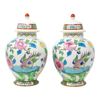 Vintage Made in England Numbered and Embossed b.f.s. Temple Jars - a Pair For Sale
