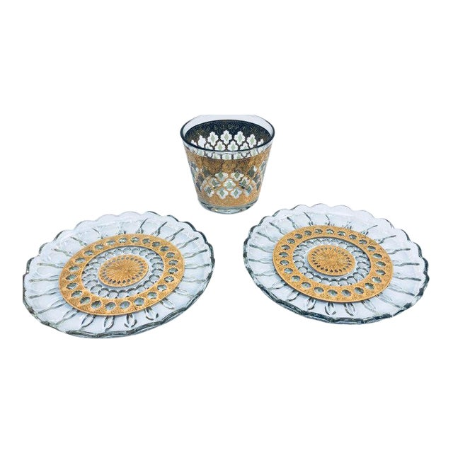 1960s Mid-Century 22-Karat Gold Leaf Plates and Ice Bucket by Culver - Set of 3 For Sale