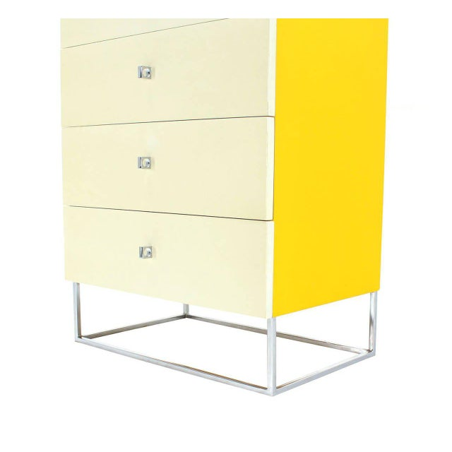 Seven Drawer Tall Yellow and White Lacquer Floating Lingerie Chest For Sale In New York - Image 6 of 7