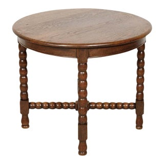 Country French Louis XIII Style Oak Round Bobbin Leg Side Table For Sale