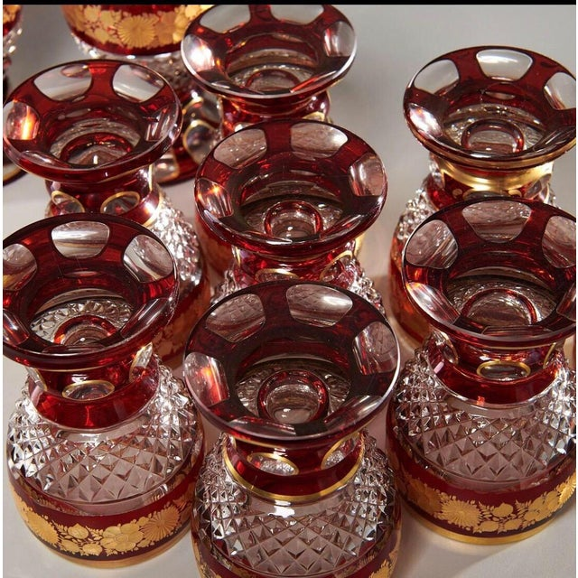 Glass Late 19th Century Ruby & Parcel-Gilt Bohemian Glasses - Set of 12 For Sale - Image 7 of 8