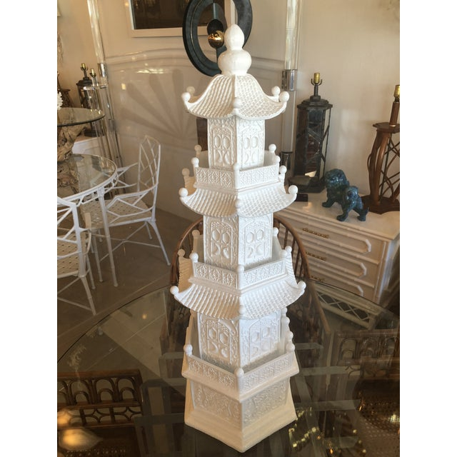 Chinoiserie White Lacquered Pagoda Statue For Sale - Image 9 of 12